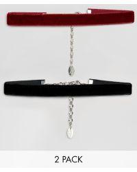 Krystal - 2 Pack Velvet Choker - Black/burgundy - Lyst