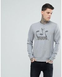 Pretty Green - Drop Out Crew Neck Sweat In Grey - Lyst