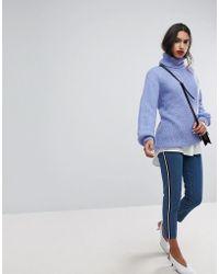 Vero Moda - Mom Jean With Side Tape In Blue - Lyst