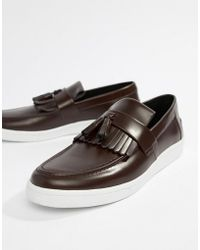 Fred Perry - George Cox Tassle Leather Contrast Sole Loafers In Oxblood - Lyst