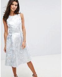 Warehouse   Metallic Jacquard Midi Dress   Lyst