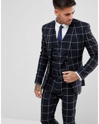 ASOS - Asos Super Skinny Suit Jacket In Navy With White Windowpane Check - Lyst