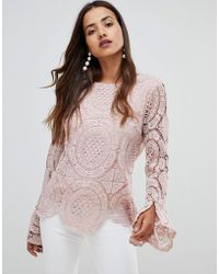 Girl In Mind - Crochet Lace Flute Sleeve Top - Lyst