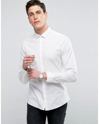 ASOS | Slim Shirt With Stretch In White | Lyst