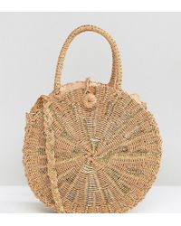 South Beach - Round Gold Woven Straw Cross Body Bag - Lyst