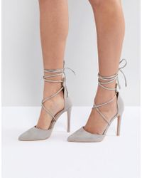Public Desire - Aries Grey Tie Up Court Shoes - Lyst