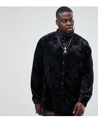 ASOS - Plus Regular Fit Crushed Velvet Shirt In Black - Lyst