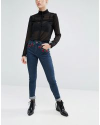 First & I - Embroidered High Waist Jeans - Lyst