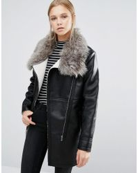First & I - Shearling Faux Fur Collar Jacket - Lyst