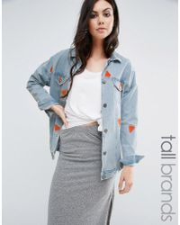 Noisy May Tall - Watermelon Embroidered Denim Jacket - Lyst