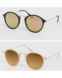 ASOS - 2 Pack Round Sunglasses With Skinny Metal Nose Bridge In Tortoise And Black - Lyst