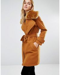 Fashion Union - Wrap Coat With Extreme Faux Fur Collar - Lyst