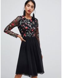3ee5de6232 Chi Chi London - 2 In 1 Embroidered Skater Dress With Chiffon Skirt - Lyst