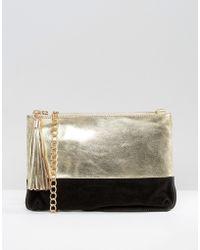 Urbancode - Metallic Leather Clutch Bag With Optional Cross Body Strap - Lyst