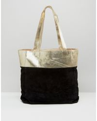 Urbancode - Metallic Leather Suede Mix Shopper Bag - Gold - Lyst