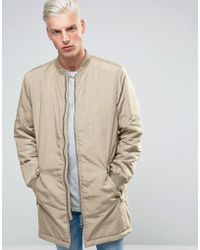 ADPT - Longline Bomber Jacket With Two Way Zip - Lyst