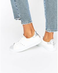 Blink - Lace Up Metallic White Mix Trainer - Lyst