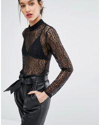 Just Female | Demi Bodysuit In Leopard Lace | Lyst