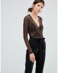 Just Female - Demi Wrap Bodysuit In Leopard Lace - Lyst