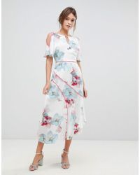 Coast - La Hune Asymmetric Hem Floral Print Dress - Lyst