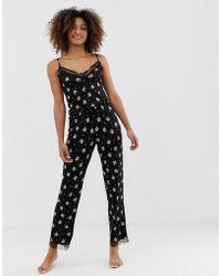 New Look - Ditsy Print Pyjama Trousers In Black Pattern - Lyst