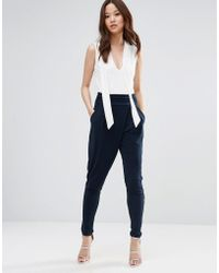 Wal-G - Jumpsuit With Contrast Top - Navy - Lyst