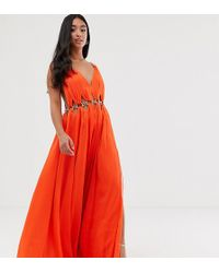 a3e6675acd Little Mistress Chiffon Maxi Dress With Cut Outs - Sage Green in Green -  Lyst