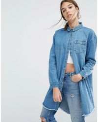 Daisy Street | Relaxed Denim Shirt Jacket With Raw Hem | Lyst