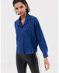 Mango - Snake Print Shirt In Blue - Lyst
