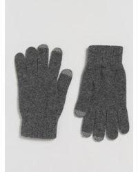Glen Lossie - Lambswool Touch Gloves In Gray - Lyst