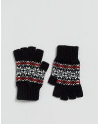 Glen Lossie - Lambswool Fair Isle Fingerless Gloves In Black - Lyst