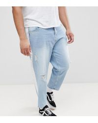 ASOS - Asos Plus Skater Jeans In Light Wash With Abrasions And Side Stripe - Lyst