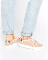 Faith | Nude Lace Up Trainers | Lyst