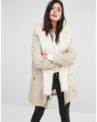Little Mistress - Parka With Faux Fur Hood - Lyst