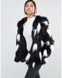 Little Mistress - Ombre Faux Fur Coat - Grey/white - Lyst