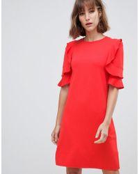 Mango - Ruffle Shoulder Shirt Dress - Lyst