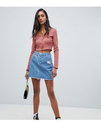 Missguided - A-line Denim Mini Skirt In Blue - Lyst