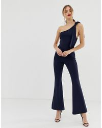 John Zack - One Shoulder Fitted Jumpsuit With D Ring Belt Detail In Navy - Lyst