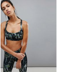 Bershka - Palm Print Sports Bra - Lyst