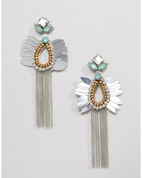 ASOS - Design Beaded Jewel And Chain Tassel Earrings - Lyst