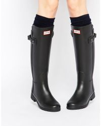 HUNTER - Original Refined Back Strap Black Gumboots - Lyst