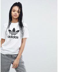 db2cdbc39b1f adidas Originals - Originals Trefoil Oversized T-shirt In White - Lyst