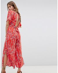 Moon River - Floral Wrap Jumpsuit - Lyst