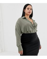 Missguided Exclusive Plus Pocket Detail Shirt In Khaki