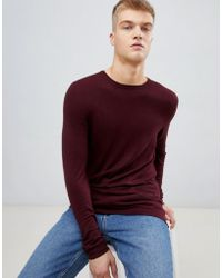 Bershka - Lightweight Knitted Sweater In Burgundy - Lyst