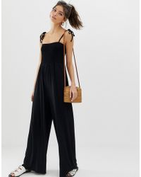 7b61a2e2c2 ASOS Drape Bodice Jumpsuit With Wide Leg And Overlay in Red - Lyst