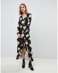 ASOS | Maxi Wrap Dress In Large Bloom Print | Lyst