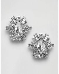 True Decadence - Oval Embellished Stud Statement Earrings - Lyst