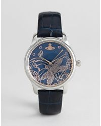 Vivienne Westwood - Vv197nvnv Fitzrovia Leather Watch In Navy - Lyst