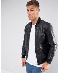 ASOS - Design Leather Bomber Jacket In Black - Lyst